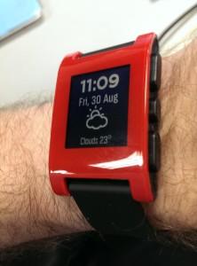 pebble wrist watch