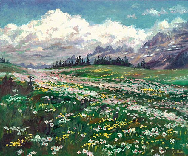 Wildflowers at Logan Pass, 20 x 24