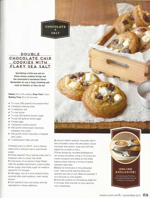 Yummy Magazine Double Chocolate Chip Cookies with Flaky Sea Salt