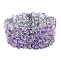 Diamond And Amethyst Rose de France Bracelet 14KW