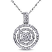 1/2 CT Diamond TW Flower Pendant 10KW
