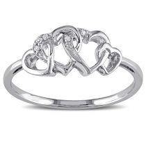 0.02 CT Diamond TW Heart Ring 10KW