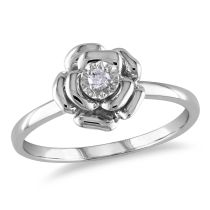 0.05 CT Diamond TW Flower Ring Silver