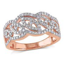 1/5 CT Diamond TW Fashion Ring White Pink Silver