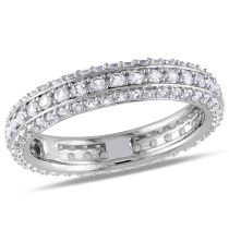 1 3/5 CT Created White Sapphire Eternity Ring Silver Size: 7
