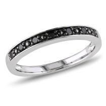 1/10 CT Black Diamond Ring Silver Black Rhodium Plated