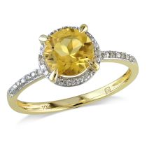Citrine And Diamond Fashion Ring 10KY