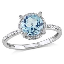 Sky Blue Topaz And Diamond Ring 10KW