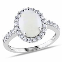Opal Created White Sapphire Fashion Ring 10KW