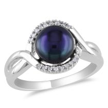 Diamond And Black Freshwater Cultured Pearl Ring Silver