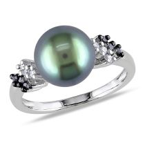Black and White Diamond And Black Tahitian Pearl Ring 10KW Black Rhodium Plated