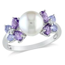 Concerto Diamond Tanzanite Amethyst And FW Cultured Pearl Ring Silver