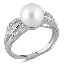 Diamond TW And Freshwater Cultured Pearl Ring Silver