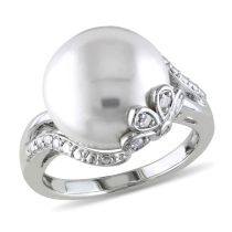 Concerto Diamond And Freshwater Cultured Pearl Ring Silver