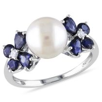 Diamond Sapphire And Freshwater Cultured Pearl Ring 10KW