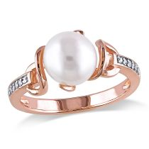 Diamond And Freshwater Cultured Pearl Ring Pink Silver