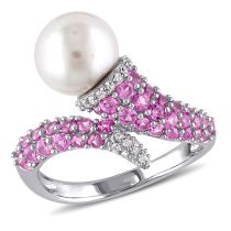 Diamond And Created Pink Sapphire And 8 - 8.5 MM Freshwater Cultured Pearl Ring Silver