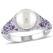 1/10 CT Diamond TW And 4/5 CT TGW Blue Topaz- Swiss Amethyst-Africa And 8 - 8.5 MM White Freshwater Cultured Pearl Ring Silver