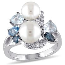 1 3/4 CT TGW Blue Topaz Created White Sapphire And White Freshwater Cultured Pearl Ring Silver