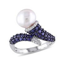 Diamond And Created Blue Sapphire And 8-8.5 MM Freshwater Cultured Pearl Ring Silver Black Rhodium Plated