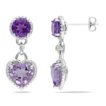 Diamond And Rose de France Amethyst-Africa Earrings Silver