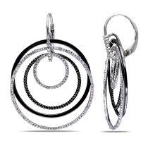 1/4ct TDW Diamond Dangle Earrings Sterling Silver