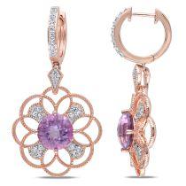 Diamond And Rose de France White Topaz Earrings Pink Silver