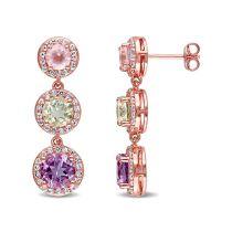 5 7/8 CT TGW Multi Color Gemstone Earrings Pink Silver