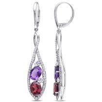 Multi-color Gemstone and Diamond Dangle Earrings 14KW