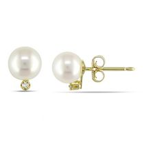 Freshwater White Pearl and Diamond Stud Earrings 10KY
