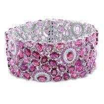 Diamond And Pink Tourmaline Pink Sapphire Bracelet 14KW