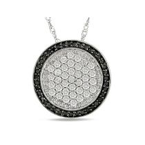 1/2 CT Black and White Diamond Pendant 14KW