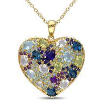 Multi-Color Gemstones Heart Pendant