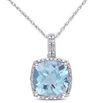 Sky Blue Topaz And Diamond Pendant 10KW