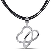 Julianna B White Sapphire Necklace With Chain Silver