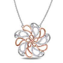 1/3 CT Diamond TW Necklace 14k White Pink Gold
