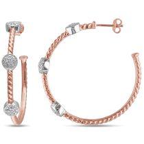 1/10 CT Diamond TW Hoop Earrings White Pink Silver