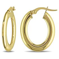 Oval Hoop Earrings 10KY