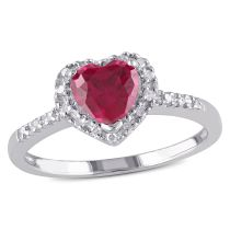 1/10 CT Diamond TW And 1 CT TGW Created Ruby Heart Ring Silver