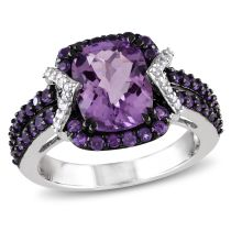 1/10 CT Diamond TW And 3 1/3 CT TGW Amethyst Amethyst Ring Silver