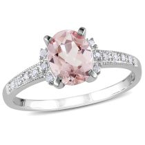 Diamond And Morganite Ring Silver