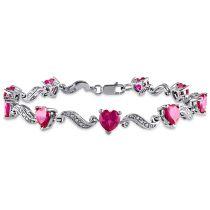 9 1/10 CT TGW Created Ruby And Diamond Bracelet Silver