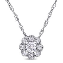 1/4 CT Diamond TW Solitaire Pendant 14KW