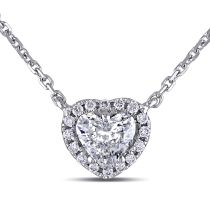 1/2 CT Heart and Round Diamonds TW Heart Pendant 14KW