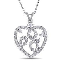 1/2CT Diamond TW Heart Pendant 14KW