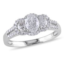 1 CT Oval and Round Diamonds TW Ring 14KW