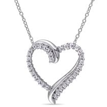 3/4 CT Created White Sapphire Heart Pendant Silver