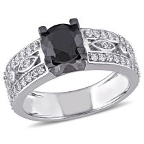 Created White Sapphire Black Spinel Engagement Ring Silver Black Rhodium Plated