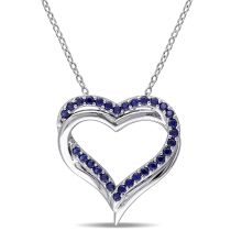5/8 CT Created Blue Sapphire Heart Pendant Silver