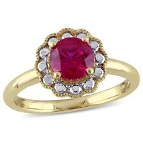 1 3/8 CT Created Ruby Fashion Ring 10KY
